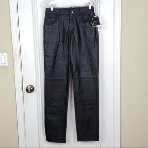 Colebrook & Co. | Black Leather Straight Leg Pants